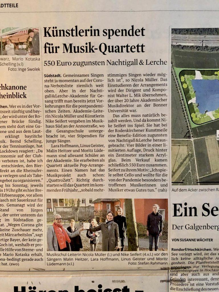 KSTA Dezember 2020 Künstlerin spendet für Musik Quartett Nachtigall & Lerche